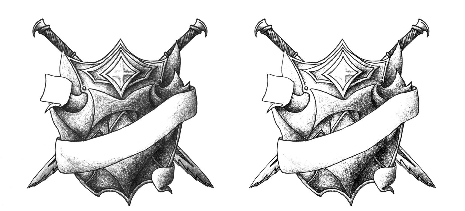 Crossed swords and shield tattoo design by laeril on for Crossed swords tattoo