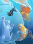 Illustration- Fish Bowl Cat by digital-blood