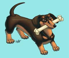 Dog Sticker- Daschund by digital-blood
