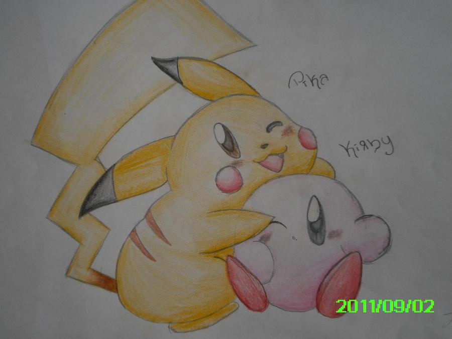 Cute kirby and pikachu
