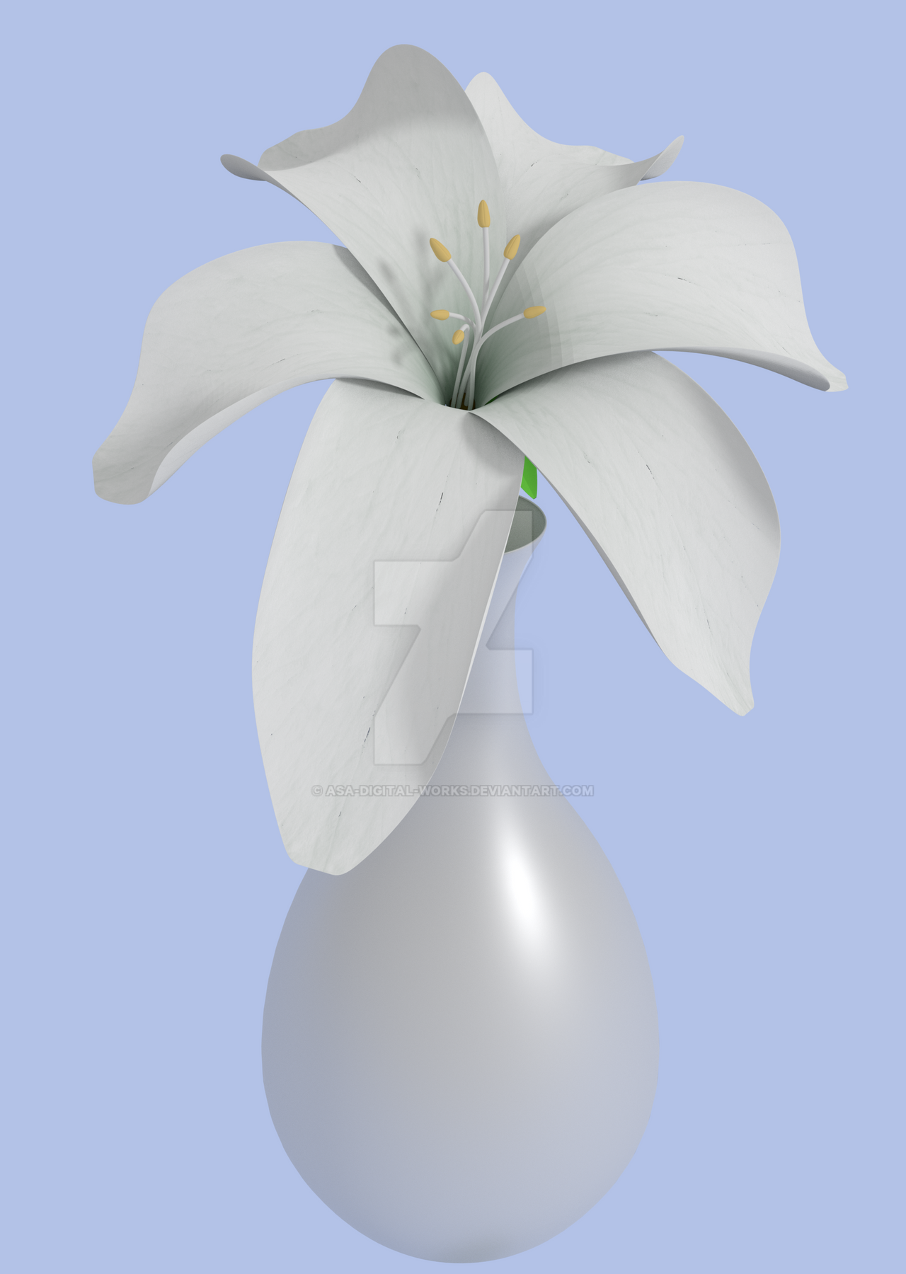 Simple Lily Flower By Asa Digital Works On Deviantart