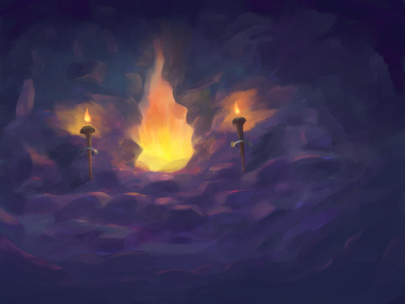 Passage to the burning lands (painting practice) by valoofx