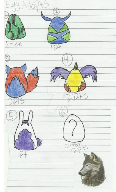 Point Egg Adopts by silverwolf900
