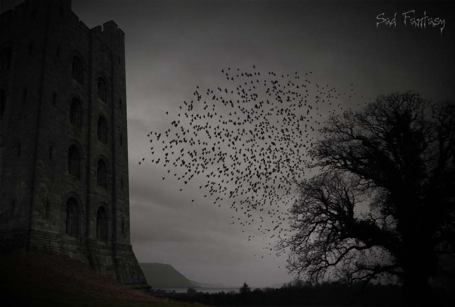 Birds in a Gothic landscape