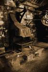 old blacksmiths workshop in sepia 2