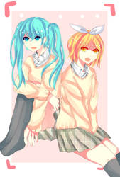 Miku and Rin =) by Newjessy