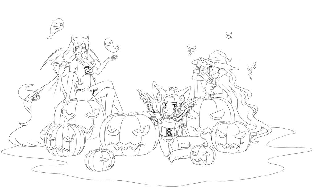 Line Art:  Halloween by DarkLisenok