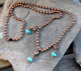 Turquoise nugget and copper ball chain necklace by deej240z