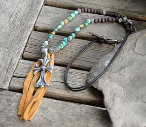 Turquoise nugget and pewter cross necklace by deej240z