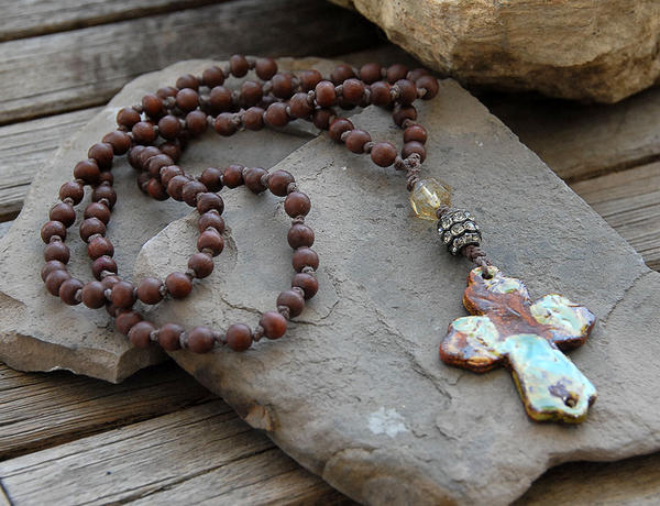 Pottery Cross Pendant Knotted Wood Bead Necklace By Deej240z On