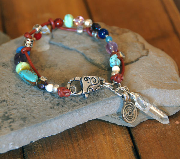 Multi Gemstone and Leather Bracelet by deej240z