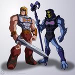 Battle Armor He-Man and Battle Armor Skeletor