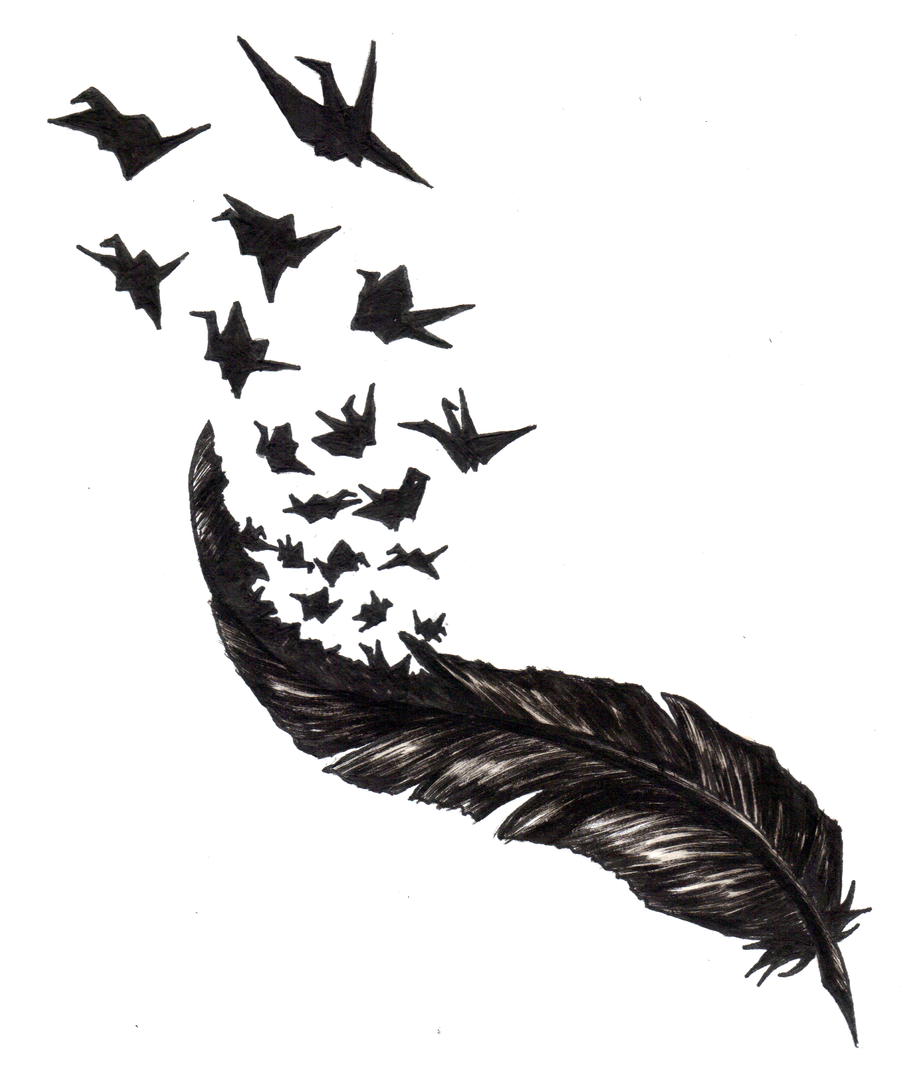feather with birds flying out tumblr