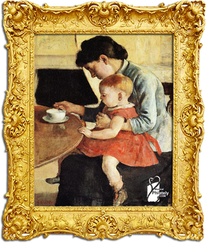 Mother and child sitting at the table