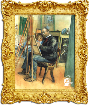 Mirror-image with Brita 1895 by Carl Larsson