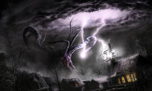 Shub Niggurath attacks village by Kingstantin