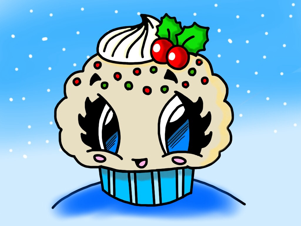 fun2draw christmas cupcake w holly attempt by