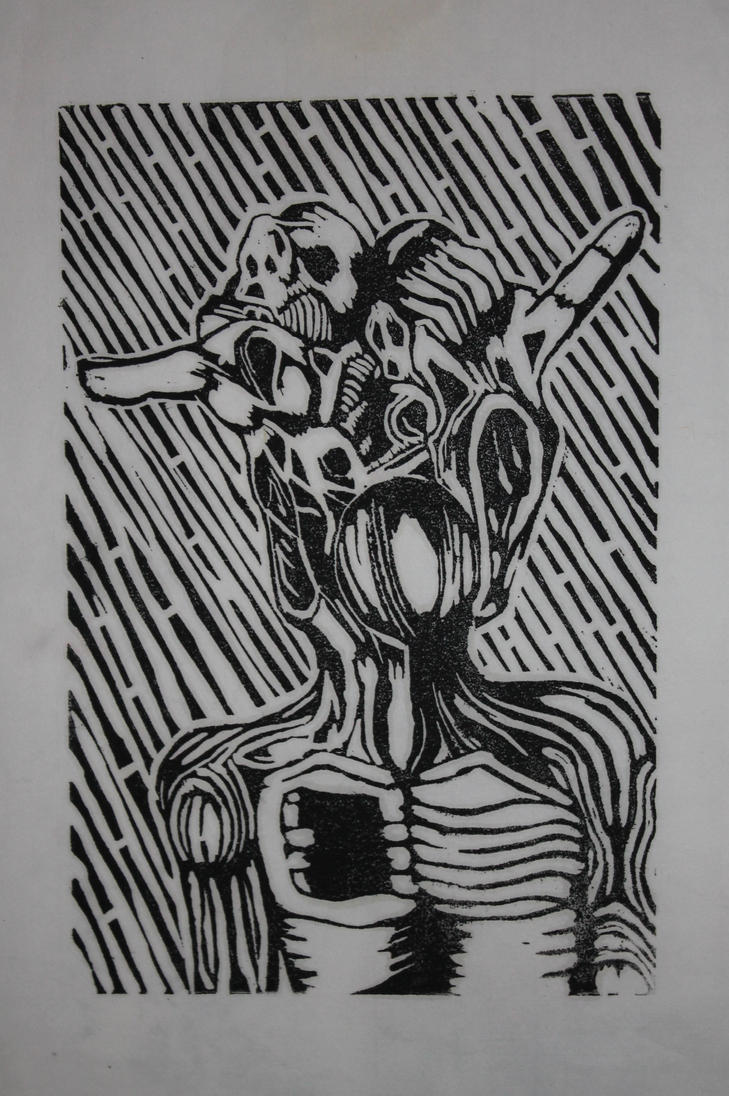 Black and white lino print by Cameron-McNamara