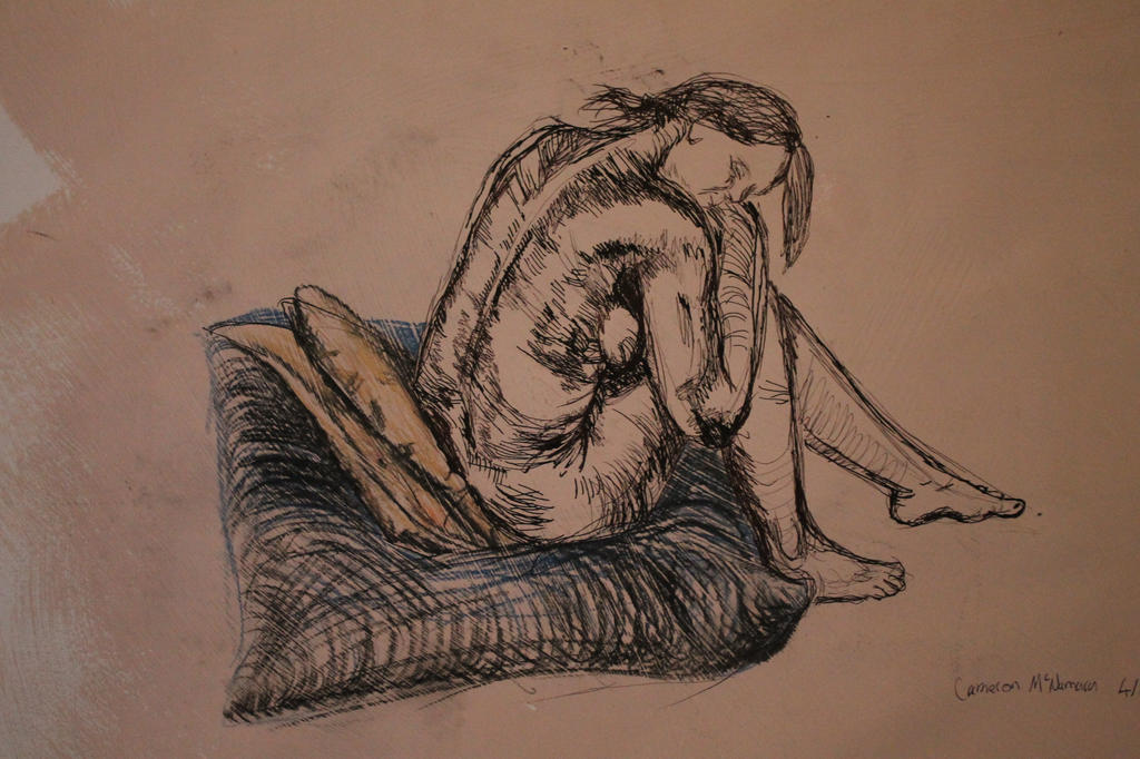 Life drawing on painted support by Cameron-McNamara