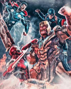 Thanos vs. The Trinity by masaolab