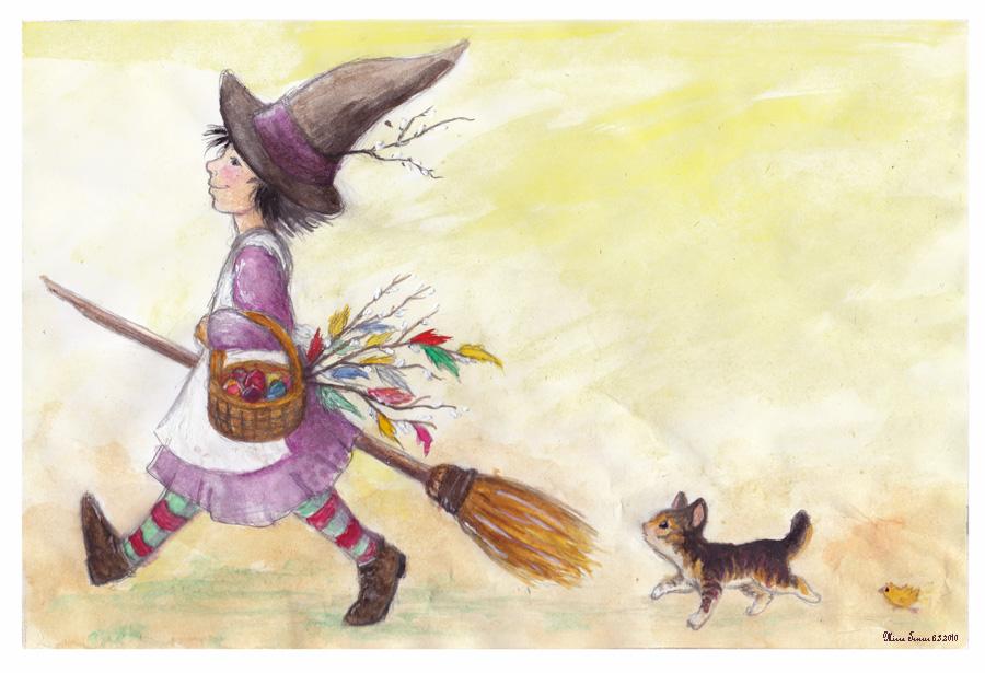 Girl, Kitten and Chicken by Amarathimi