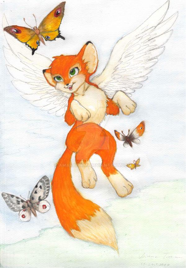 winged fox drawings