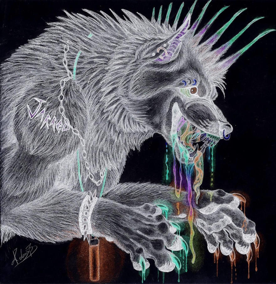 Trippy wolf painting - photo#13