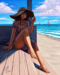 Draw this in your style 2 girl on beach