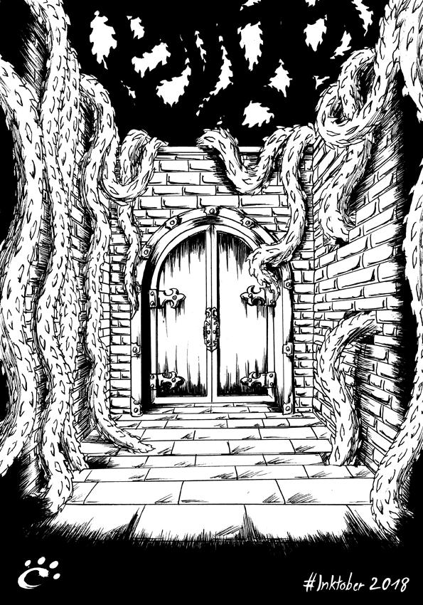 #Inktober2018 Drawing 25 - PRICKLY Gate by TrickyPhantom