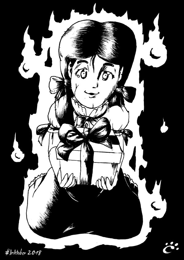 #Inktober2018 Drawing 28 - GIFT from a Ghost by TrickyPhantom