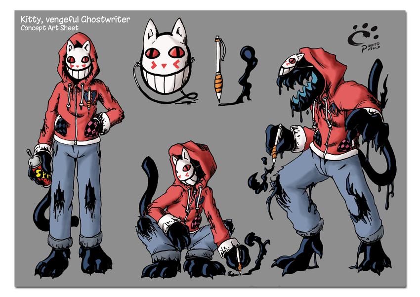 Kitty, Vengeful Ghostwriter (concept art sheet) by TrickyPhantom