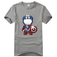 Captain America Doraemon logo short sleeve t s by cosplaysky123