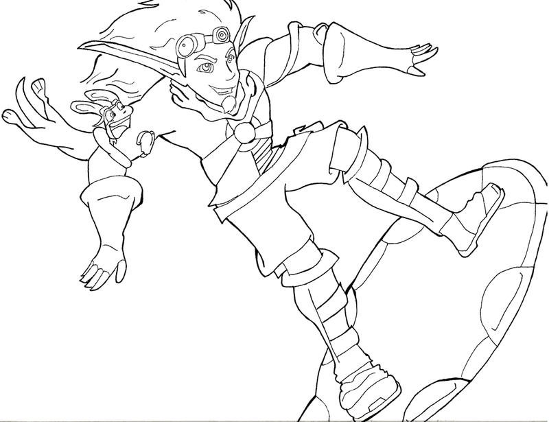 Jak And Daxter Lined By Avastra On Deviantart Jak And Daxter Coloring Pages