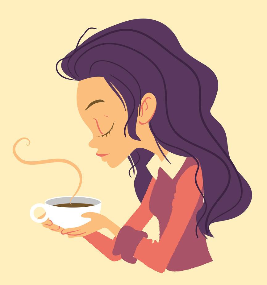 Girl with coffee by budilnik
