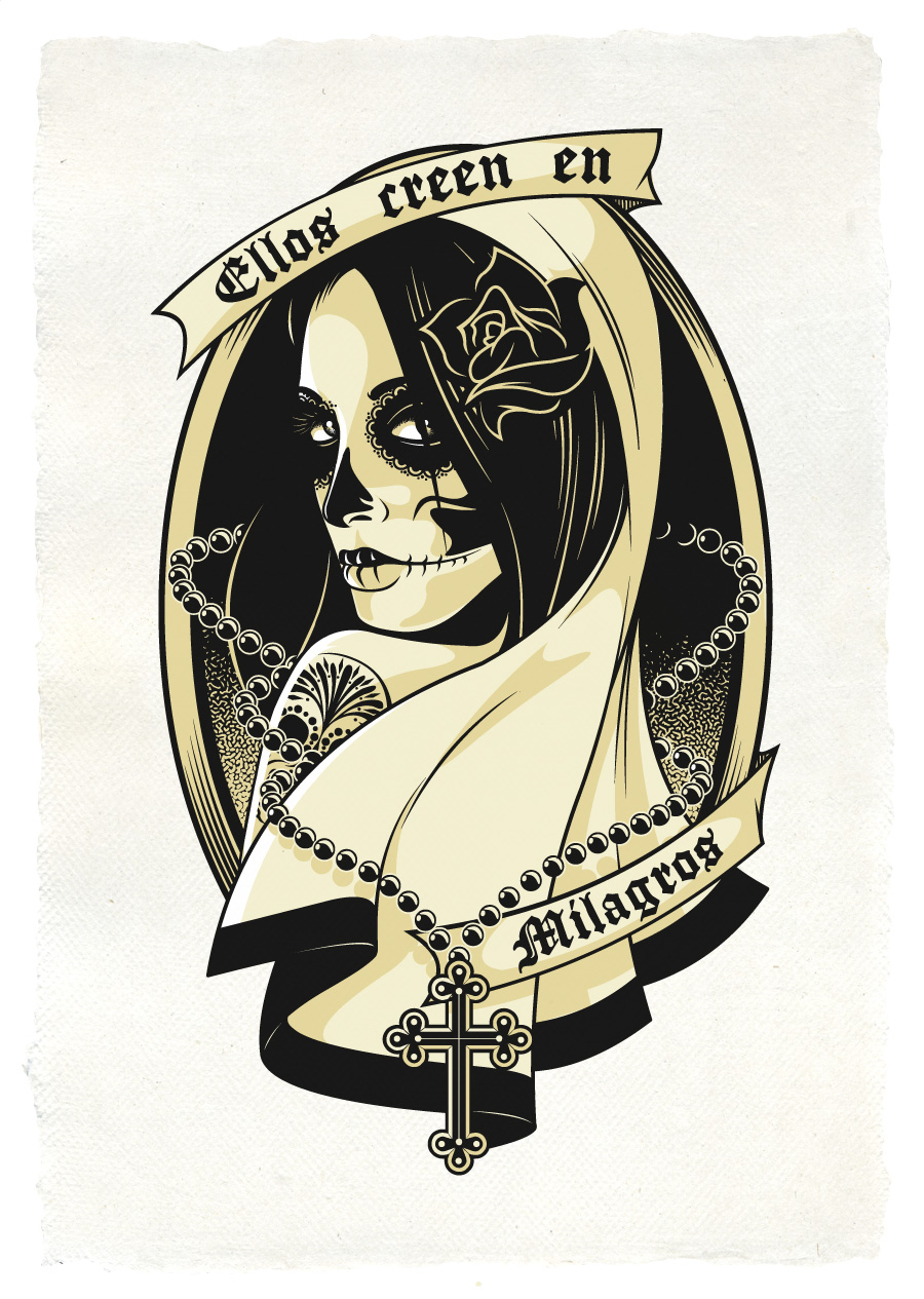 Mexican Skull Girl By AndrewStrauss