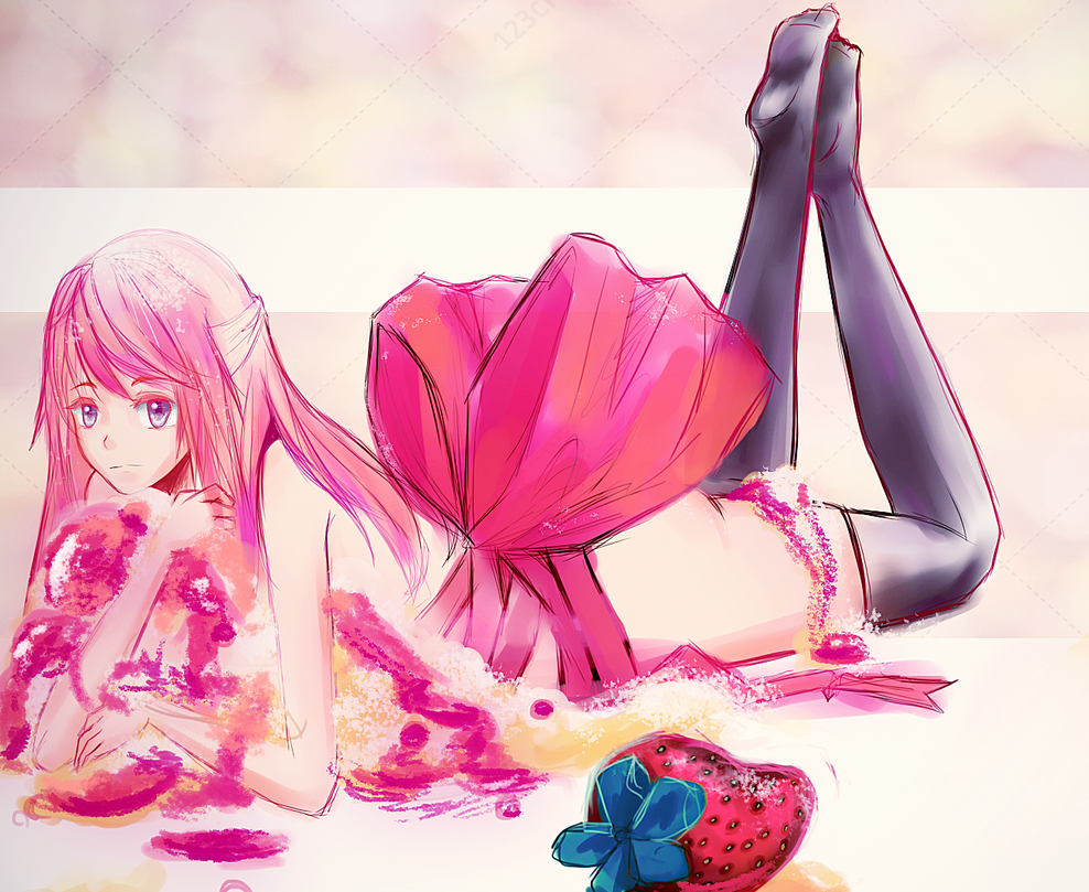 Strawberry cake in pieces (for you) by ake-mikan