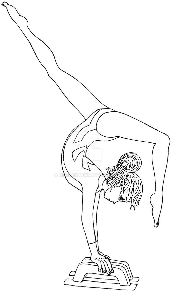 Coloring pages gymnastics - Gymnast Lineart By Mirisu92