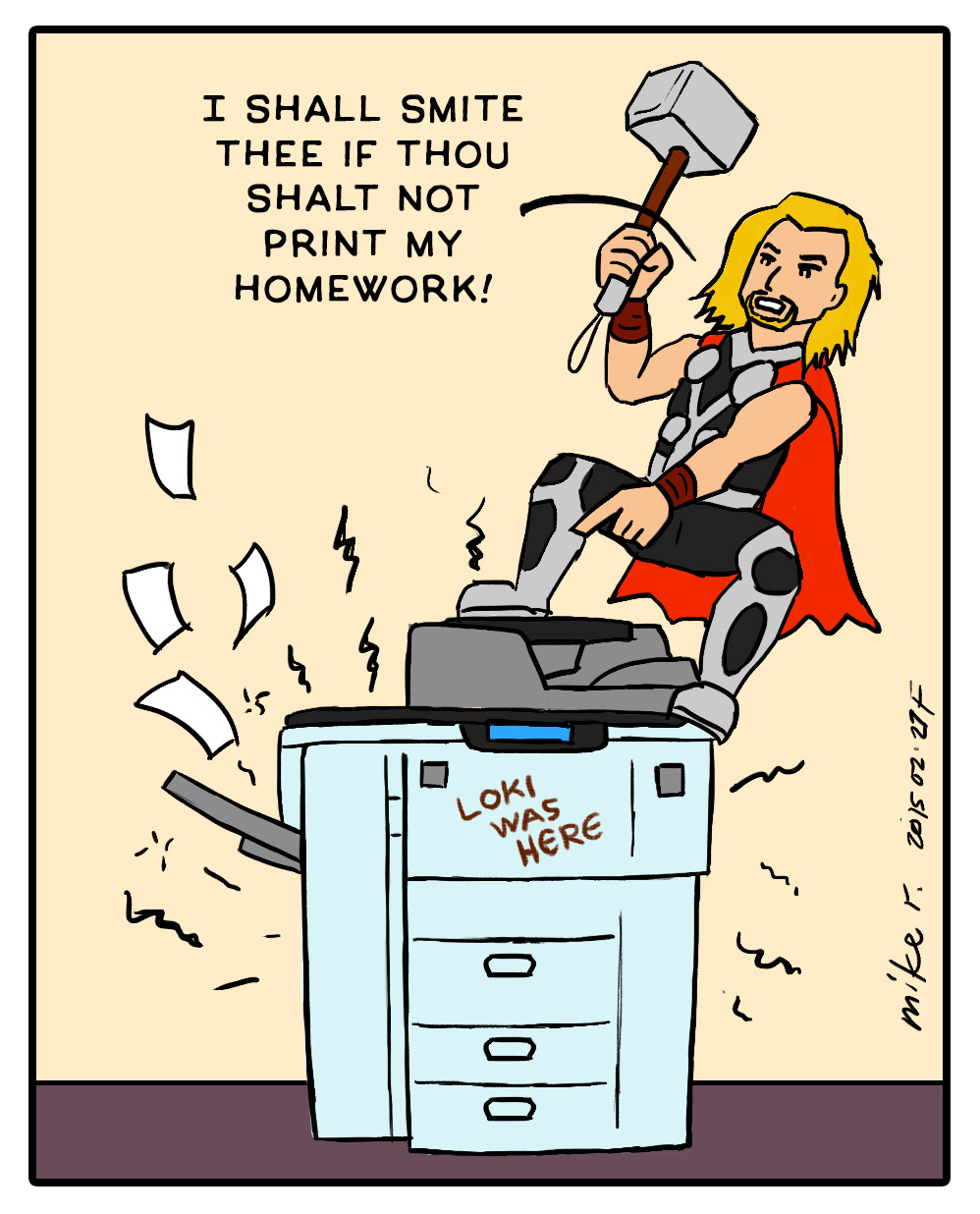 thor has printer problems by mirisu92 on deviantart