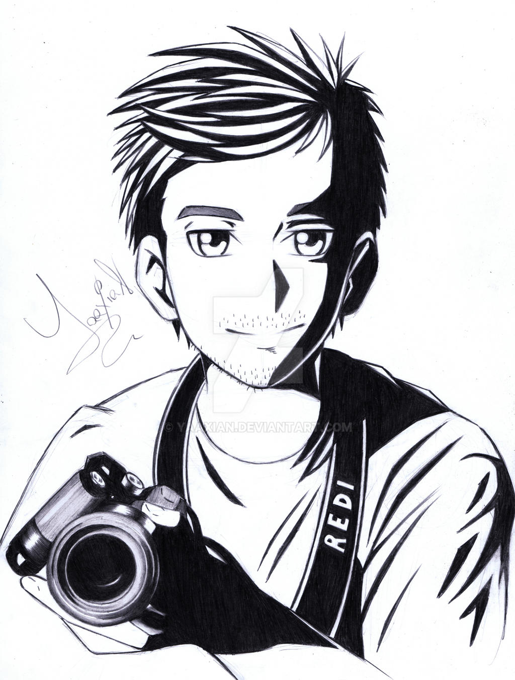 Drawing of a boys profile picture by yaaxian