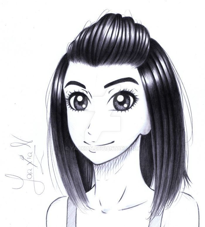 Twitch live drawing of a girl's profile picture by Yaaxian
