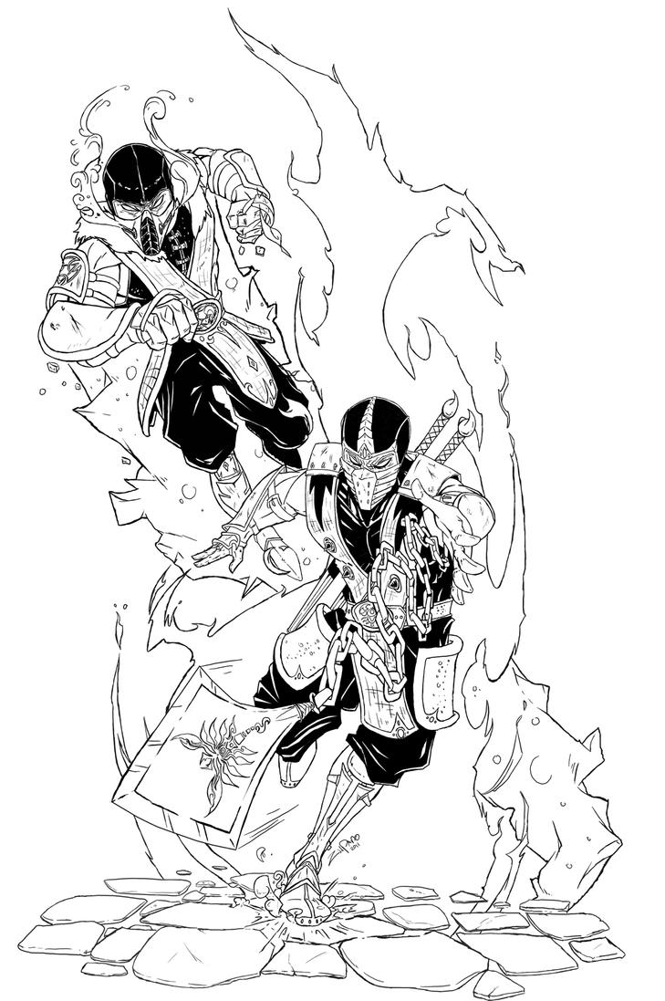 Sub Zero Vs Scorpion Pages Coloring Pages