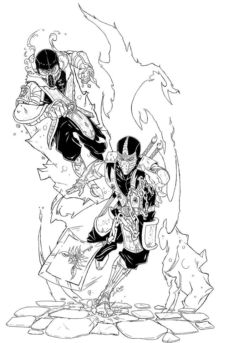 Scorpion VS Sub-Zero Line-art by Zupano on DeviantArt