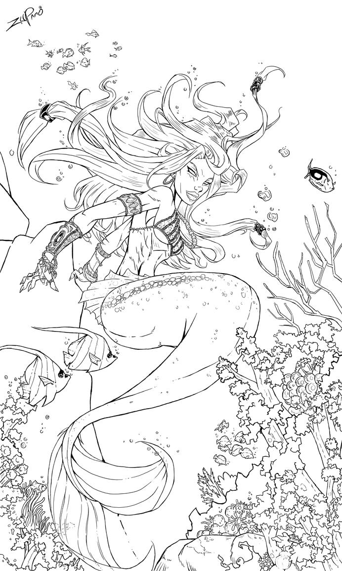 Line Drawing Mermaid : Little mermaid line art by zupano on deviantart
