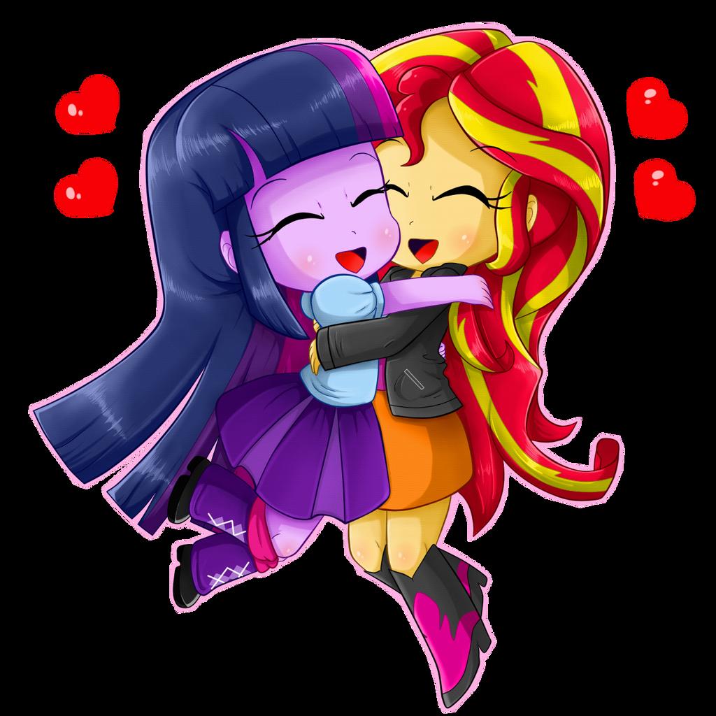 Chibis hugging - photo#4