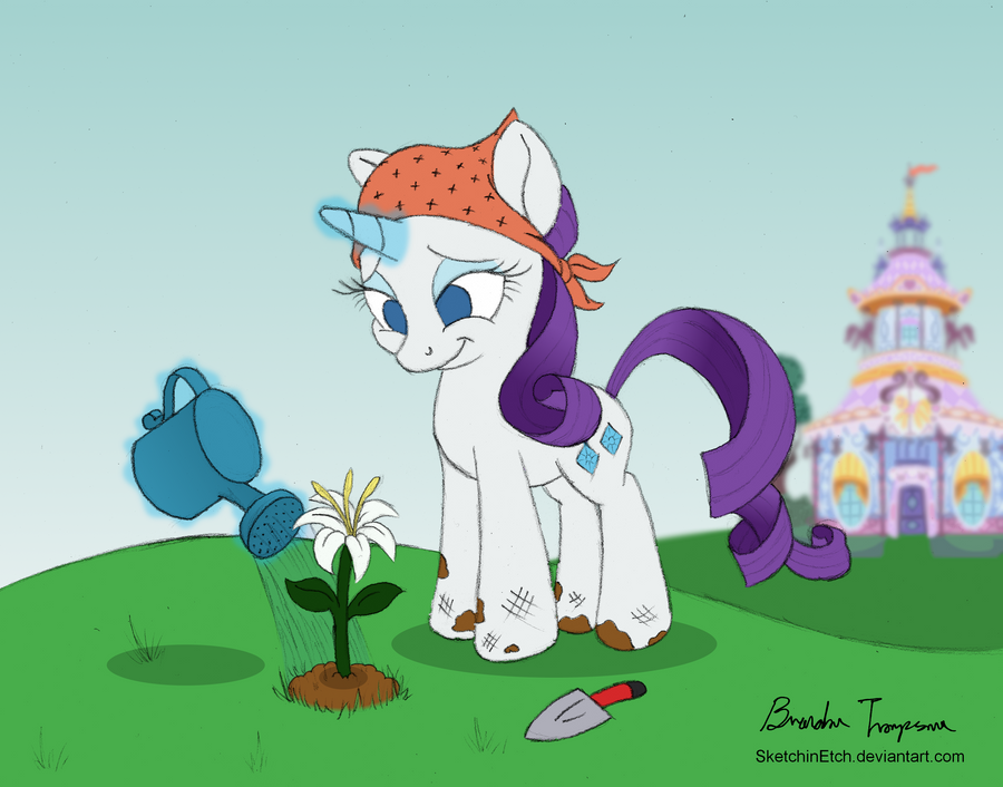 Rarity Tries Something New (Colored) by SketchinEtch