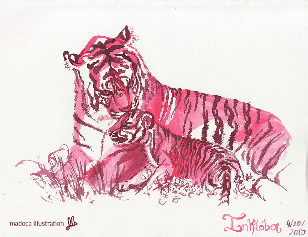 Tiger family by MadocaArt