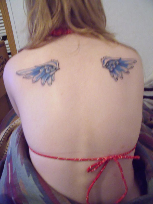 Women Back Piece With Small Angel Wings Tattoos Picture 4