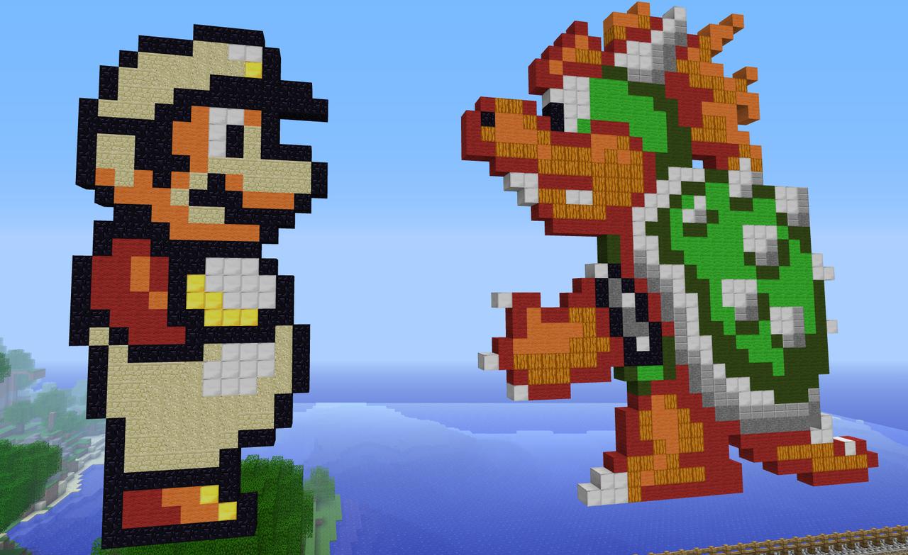 Minecraft How To Build Pixel Mario And Luigi