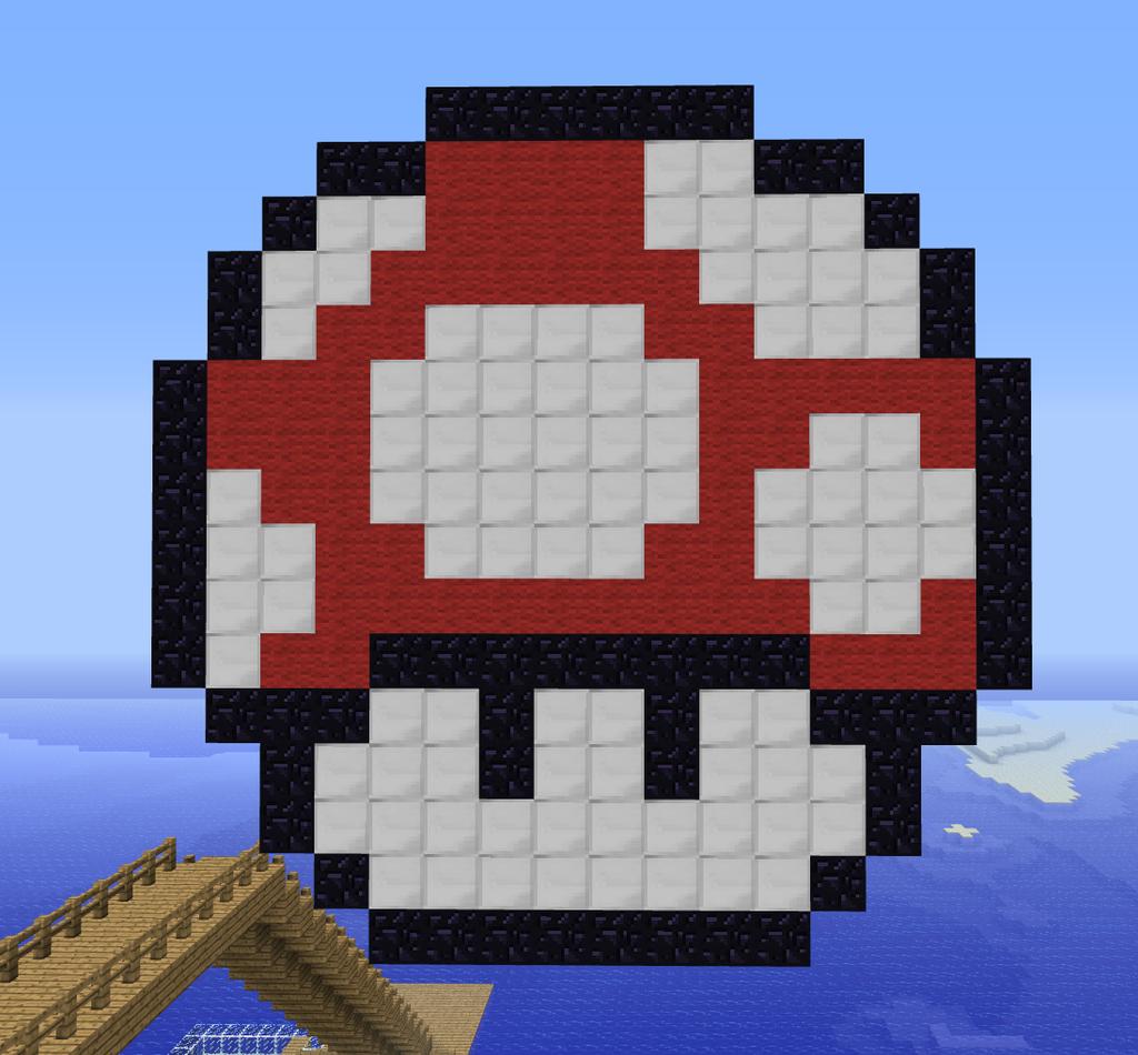 Minecraft Pixel Art Mario Mushroom