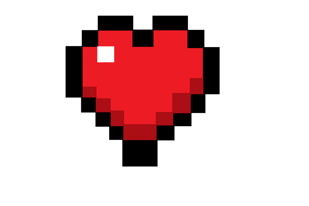 how to draw a heart in minecraft